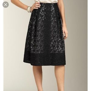 EUC Talbots Petite Black Lace Full Skirt size 6